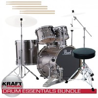 Pearl EXX725 Export Drum Set - Smokey Chrome DRUM ESSENTIALS BUNDLE | KraftMUSIC.com