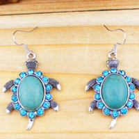 SNAZZY Turquoise Turtle Earrings