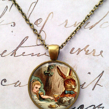 Alice In Wonderland Necklace, Curiouser and Curiouser, Fairy Tales, Wonderland, Steampunk, Once Upon a Time T875