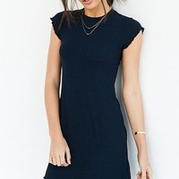 BDG Cap-Sleeve Camper Pocket Ribbed Dress - Urban Outfitters