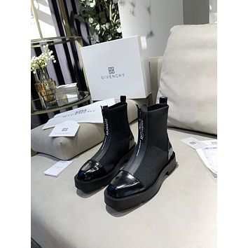 GIVENCHY2021 Trending Women's men Leather Side Zip Lace-up Ankle Boots Shoes High Boots07260xf