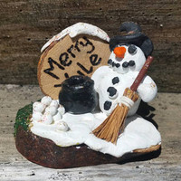 Merry Yule snowman deoration yule altar decor, winter solstice, midwinter decor,  pagan Christmas home decor,  yule gift idea, pagan gifts
