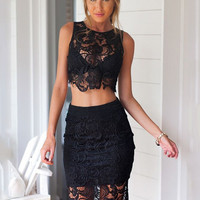 Floral Crochet Lace Sleeveless Cropped Top and Bodycon Midi Skirt Dress
