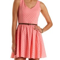 Coral Belted Eyelet Skater Dress by Charlotte Russe