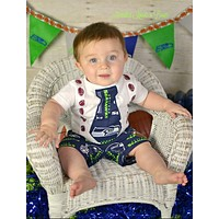 Boys Seattle Seahawks Outfit, Baby Boys Seahawks Football Game Day Outfit, Baby Shower Gift for Boys