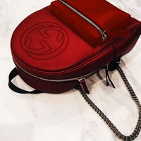 """GUCCI"" Casual Sport Laptop Bag Shoulder School Bag Backpack Red"