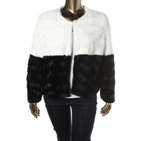 John Paul Richard Womens Faux Fur Colorblock Jacket