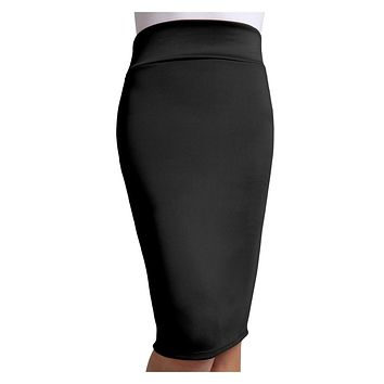 Fitted Solid High Waisted Midi Skirt with Stretch (CLEARANCE)