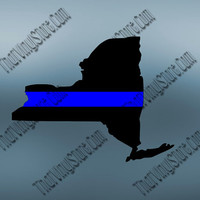 New York Back the Blue Flag Thin Blue Line Vinyl Decal   Yeti Cop Decal   Distressed American Flag   Blue Lives Matter   434