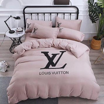 LV LOUIS VUITTON Comfortable Soft 4 Bedding Set Conditioning Throw Blanket Quilt For Bedroom Living Rooms Sofa