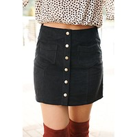 Everything Goes Button Up Skirt (Black)