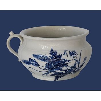 Antique Ironstone Blue and White Transfer Chamber Pot by KT & T Maine Pattern with Poppies c1870