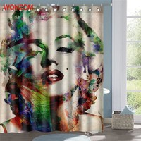 WONZOM Marilyn Monroe Polyester Fabric Mermaid Shower Curtain Bathroom Decor Waterproof Cortina De Bano With 12 Hooks Gift 2017