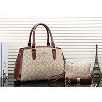 Perfect Coach Women Shopping Leather Tote Handbag Shoulder Bag Set Two Piece