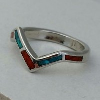 Inlaid Turqoise and Coral Silvertone Ring, Size 6