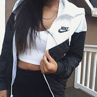 Nike men and women tide jacket hooded zipper cardigan sweater jacket stylish sportswear