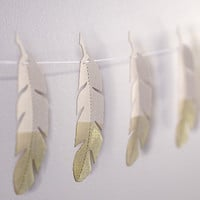 Limited Edition Gold Tipped Feathers Gold Feather Garland strand paper bunting Rustic Feather Decor Country Western Southwestern Decor