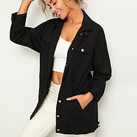 Black Solid Pocket and Button Front Denim Jacket Coat Women Streetwear Turn-down Collar Casual Jackets Outwear