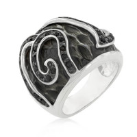Black Cubic Zirconia Snake Inspired Cocktail Ring, size : 06
