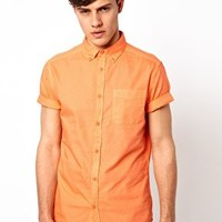 Short Sleeved Oxford Shirt in Orange