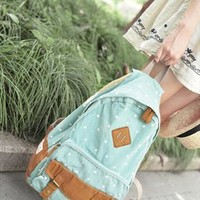Fashion Sweet Cute White Tiny Dot Canvas Backpack from styleonline