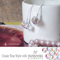 White Sparkle White Swarovski Crystal Earphone Headphone Earbuds Handsree with Microphone for iPhone Any 3.5mm Plug