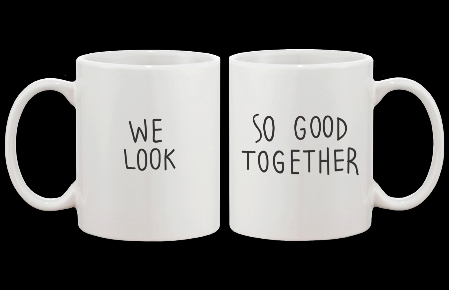 Image of Cute Look Good Matching Couple Mugs - His and Hers Matching Coffee Mug Cup