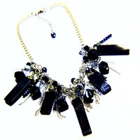 Chunky Agate Natural Stone Chain Crystal Statement Necklace