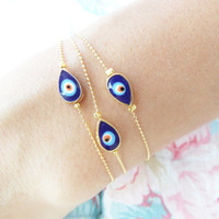Mother daughter jewelry, matching evil eye bracelets mom mommy teardrop bracelet ball chain gold plated mother birthday gift arabic turkish