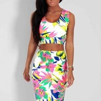Markita Tropical Print Crop Top and Midi Skirt Two Piece | Pink Boutique
