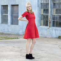 vintage red plaid dress / red skater dress / 60s dress large / 1960s dress / collared dress / mod scooter dress / fit and flare dress