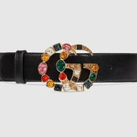 Gucci Colorful Diamond Women Belt Multicolor agate Hot Sale Belt Black