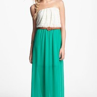 As U Wish Lace Top Belted Maxi Dress (Juniors) (Online Only) | Nordstrom