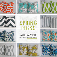 18x18 Spring Pillows- Set of 4 Decorative Pillow Covers - You Choose