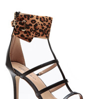 Leopard Cuffed Up Caged Roman Heels