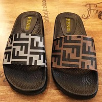 FENDI Slippers FF Sandals Double Letters Print Shoes Coffee Grey