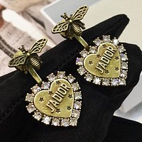 Dior Hot Sale Women Retro Diamond Heart Pendant Earrings Accessories Jewelry