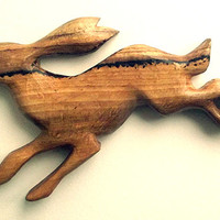 Rabbit, Hare Wall-Hanging. Carved from Spalted Beech in UK. Wall decor, wood carving, rabbit carving, hare decor, hare sculpture, rabbit art