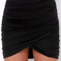 Gather Report Ruched Black Skirt