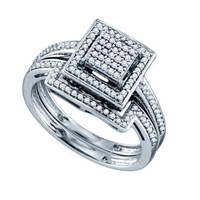 Diamond Fashion Bridal Ring in Sterling Silver 0.35 ctw