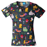 Cherokee HQ Happy Tails To You Round Neck Top - Pediatric Prints - Marcus Uniforms