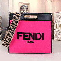 FENDI Women Leather Tote Satchel Shoulder Bag Handbag