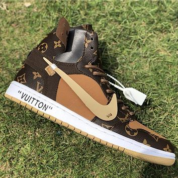 Louis Vuitton LV x NIKE stitching color print couple sneakers