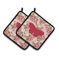 Butterfly Shabby Chic Pink Roses  Pair of Pot Holders BB1049-RS-PK-PTHD