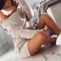 New sweater autumn and winter women's one-shoulder strapless shoulder bag hip dress sweater