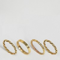 Made Gold Twisted Stacking Ring Set at asos.com