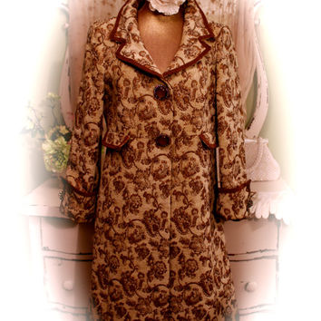 M - L Tapestry Coat, Long Winter Trench, Boho Chic Amadeus Coat, French Vintage Style, Retro Chic, Copper Brocade, Bohemian Cowgirl Jacket,