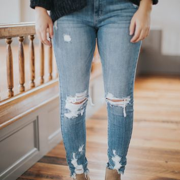 Jude Distressed Skinny Ankle Jeans, Rocket Fire