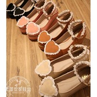 Lolita Shoes Heart Shaped Embellished Ankle Buckles Princess Japanese Round Toe Woman Girl Cute Cosplay Shoes