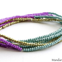 Set of Six Seed Bead Stretch Bracelets, Purple Teal and Gold, 7 Inch Stretchy Elastic Cord Bracelets with Tiny Beads, Stackable Jewelry